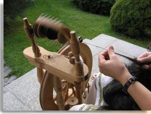 Verarbeitung mit dem Handspinnrad